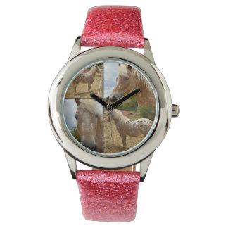 Appaloosa Horse Photo Collage,  Pink Glitter Watch