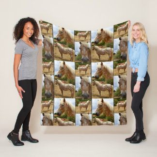 Appaloosa Horses Photo Collage, Medium Fleece Blanket