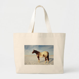 Appaloosa Mare in Winter Snow Large Tote Bag