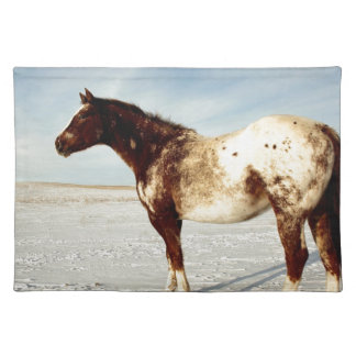 Appaloosa Mare in Winter Snow Placemat