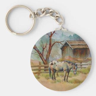 APPALOOSA & OLD BARN  by SHARON SHARPE Basic Round Button Keychain