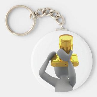 appareil-photo d'or de photographe porte-clé rond