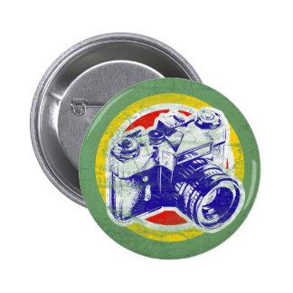 Appareil-photo vintage macaron rond 5 cm