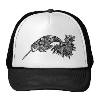 Apparel printed with hand drawn narwhal whale trucker hat