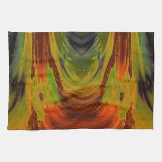 Apparition 3 in Orange and Green Hot Abstract Kitchen Towel