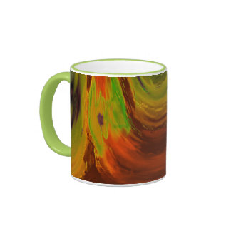 Apparition 3 in Orange and Green Hot Abstract Ringer Mug