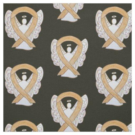 Appendix Cancer Amber Awareness Ribbon Angel Fabric