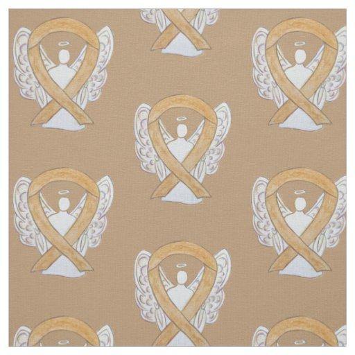 Appendix Cancer Awareness Ribbon Amber Angel Fabric