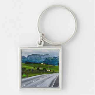 Appenzell Alps during a rain storm - Switzerland Silver-Colored Square Keychain
