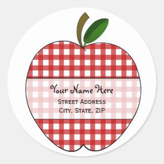 Apple Address Label - Red Gingham