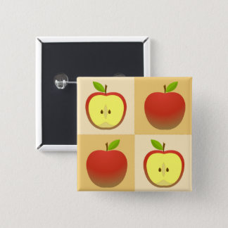 Apple and a Half 2 Inch Square Button