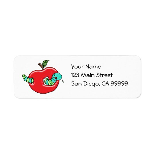 Apple and a Hungry Worm Return Address Label