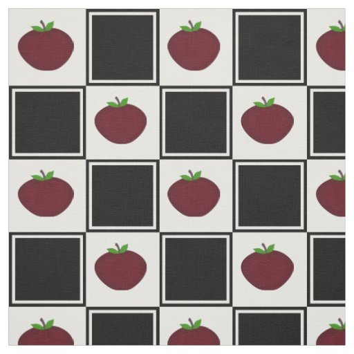 Apple and Chequered Pattern Fabric