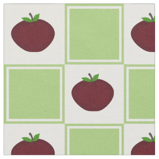 Apple and Green White Checkered Pattern Fabric