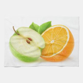 Apple and orange kitchen towel