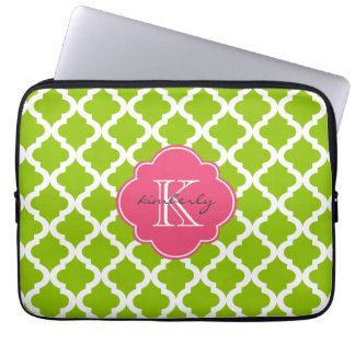 Apple and Pink Blush Moroccan Quatrefoil Print Laptop Sleeve
