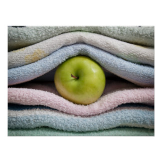 Apple and towels poster
