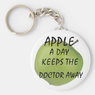 apple, APPLE, A DAY, KEEPS THE , DOCTOR AWAY Basic Round Button Keychain