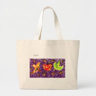 Apple art large tote bag