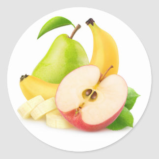 Apple, banana and pear classic round sticker