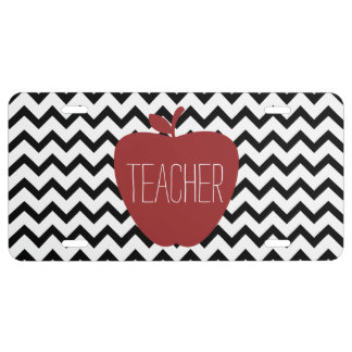 Apple & Black Chevron Teacher License Plate Cover