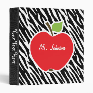 Apple; Black & White Zebra Stripes 3 Ring Binder