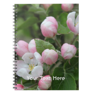 apple blossom and green leaves spiral notebook