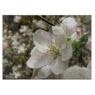Apple Blossom Decorative Glass Chopping Board