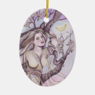 Apple Blossom Dryad Fairy Faerie Altar Art Ceramic Ornament