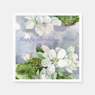 Apple blossom paper napkin
