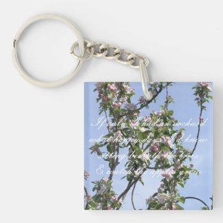Apple blossom poem keychain