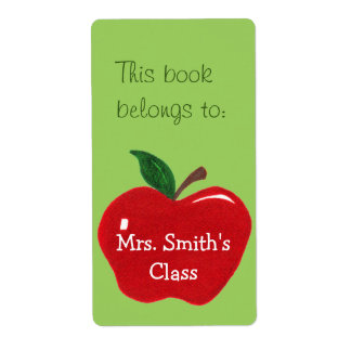Apple Bookplate Sticker -