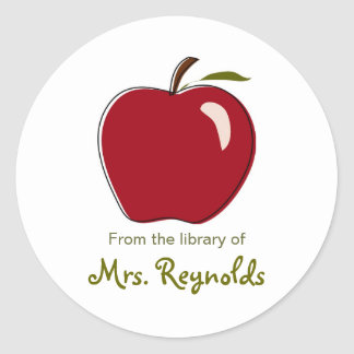 Apple Bookplates Classic Round Sticker
