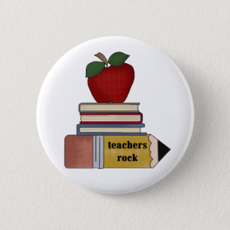 Apple, Books, Pencil Teachers Rock 2 Inch Round Button