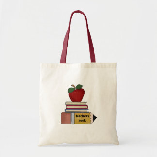 Apple Books Pencil Teachers Rock Canvas Bag
