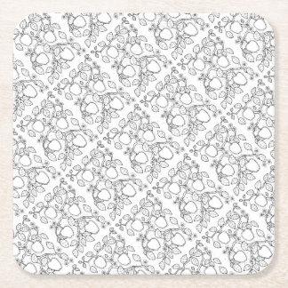 Apple Branch Line Art Design Square Paper Coaster