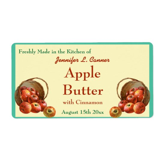 Apple Butter Canning Jar Food Label