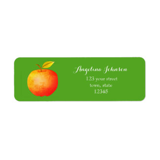 Apple Cartoon Red Bold Big Green Bright Vibrant Return Address Label