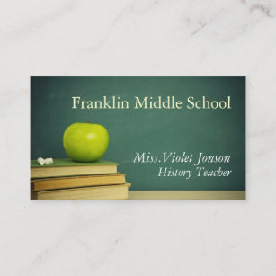 School board business cards profile cards zazzle ca apple chalk board school teacher business card reheart Image collections
