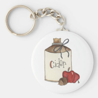 apple cider and apple picking basic round button keychain