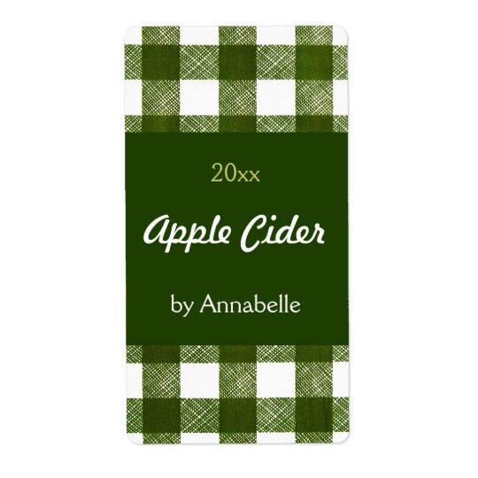 Apple cider canning label