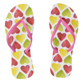 Apple colorful hearts pattern flip flops
