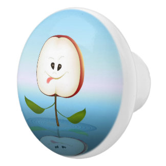 Apple Cut Cartoon Ceramic Knob