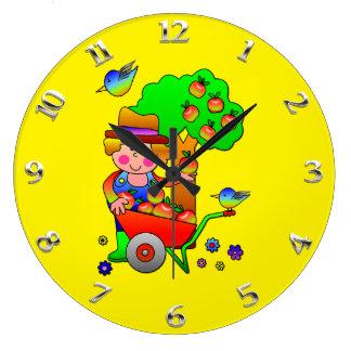 Apple Farmer Gathering His Apple Harvest Wall Clock