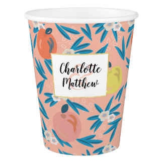 Apple Floral Coral Pink Navy Wedding Paper Cup