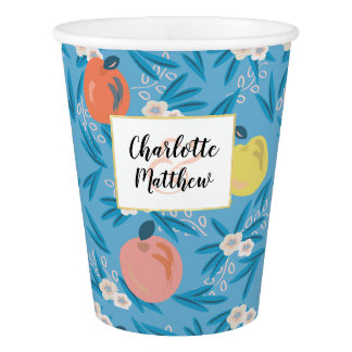 Apple Floral Sky Blue Pink Navy Wedding Paper Cup