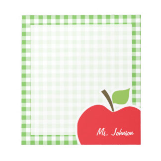Apple for Teacher; Green Checkered; Gingham Notepad