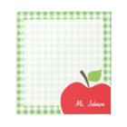 Apple for Teacher; Green Chequered; Gingham Notepad