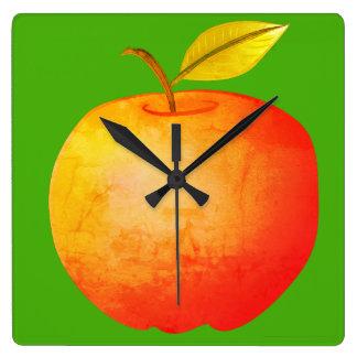 Apple Fruit Red Vibrant Cartoon Artistic Stylish Square Wall Clock