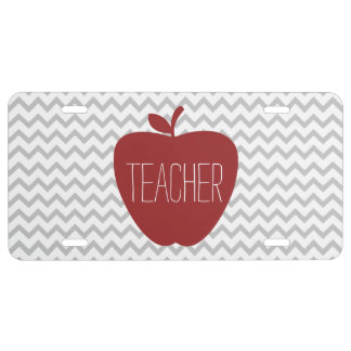 Apple & Gray Chevron Teacher License Plate Cover